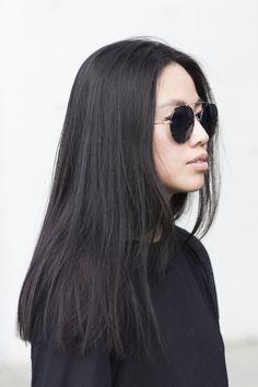 Blunt cut, long hair, straight across