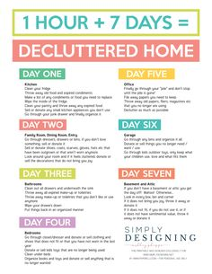 Organization Ideas housekeeping 7 Days to a Decluttered Home Printable Final.pdf 7 Days to a Decluttered Home Printable Final.pdf 7 Days to a Decluttered Home Printable Final.pdf 7 Days to a Decluttered Home Printable Final. Cleaning Hacks Tips And Tricks, Household Cleaning Tips, Diy Cleaning Products, Cleaning Solutions, Zone Cleaning, Cleaning Challenge, Clutter Solutions, Household Binder, Cleaning Blinds
