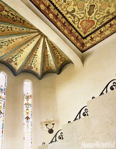 The spectacular stenciled ceiling was restored by painter Esther Carpenter