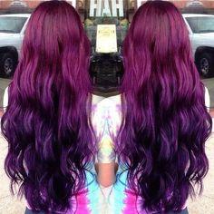 Magenta purple hair ombre
