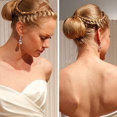 I love the braid. Maybe going into curls in the back, I do not like this bun.