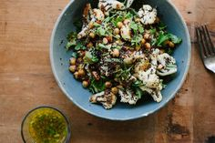 Roasted Cauliflower, Chickpea, Quinoa with Jalapeño Lime Dressing