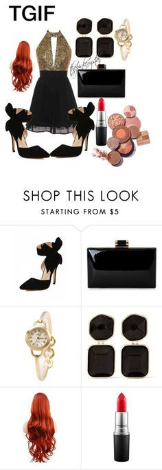"""""""TGIF night. Comfy shoes, jewelry, make up, above all sexy dress on fleek.  #getthelook #celebrityfashion #thepinkcrystal"""" by thepinkcrystal on Polyvore featuring Kenneth Jay Lane and MAC Cosmetics"""