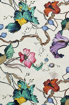 French Floral Colour fabric from Edit---tumbling pink aqua, orange, yellow purple fleurs on white backgd Deco Floral, Motif Floral, Floral Prints, Floral Fabric, Fabric Flowers, Textile Prints, Textile Patterns, Textiles, Fabric Wallpaper