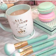 Happy Friyayy beauties!!✨☕️Having some coffee latte right now in Hawaii!✨Love how Crystal @supersmalley sends me her coffee latte snaps every morning!!✨☕️TEAL vibes with the @madison89miller set is how we start the weekend off beauties!✨