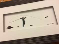 Pebble Art Fly Fisherman Framed Pebble Picture Gift by PebbleArt