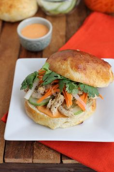 Chicken Banh Mi Sandwich with Sriracha mayo and homemade daikon radish pickle. // Inquiring Chef