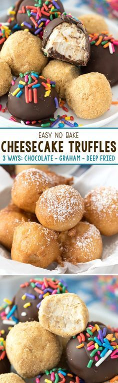 No Bake Cheesecake Truffles - this easy truffle recipe are actually bites of no bake cheesecake! Make them coated in graham crumbs or chocolate, or deep fry them like at the fair! christmas make,no bake desserts Mini Desserts, No Bake Desserts, Just Desserts, Delicious Desserts, Deep Fried Desserts, Weight Watcher Desserts, Easy No Bake Cheesecake, Cheesecake Recipes, Cheesecake Truffles Recipe