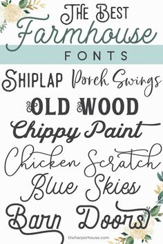 Farmhouse Fonts - best list of trendy farmhouse style fonts for Perfect for Fixer Upper style farmhouse signs and printables. Farmhouse Fonts - best list of trendy farmhouse style fonts for Perfect for Fixer Upper style farmhouse signs and printables. Farmhouse Font, Farmhouse Signs, Farmhouse Style, Farmhouse Decor, Modern Farmhouse, Cottage Farmhouse, Fancy Fonts, Cool Fonts, Awesome Fonts