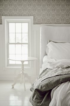 Main Bedroom - New Wallpaper Bedroom Wallpaper, New Wallpaper, Wallpaper Companies, Inspirational Wallpapers, European House, Board And Batten, White Cottage, Perfect Wallpaper, White Houses