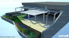 Luxury apartment in Durban.The particular shape of the back-end of the patio was a challenge, but by ignoring the rounded protrusion of the top balcony and extending the shade structure all the way to the back, the problem was solved. In this instance we used two Pergotenda Millenium (tilted) structures and a Defense sail awning.