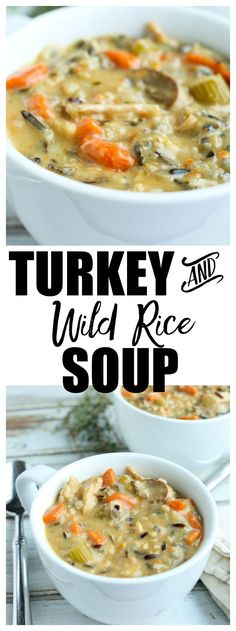 Turkey and Wild Rice Soup Recipe. This is a perfect, healthy recipe for leftover turkey from Thanksgiving or Christmas. Guess what?! This also works with leftover chicken! It's a healthy soup that everyone loves.  via @Maryea Flaherty