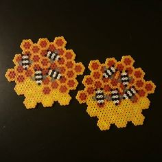 Abejas, Bee coasters perler beads, hama beads , bead sprites, nabbi fuse melty beads  by  cherry_bits
