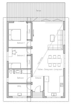 Nice plan. Would combine bathroom and utility to make bigger space for better bathroom layout