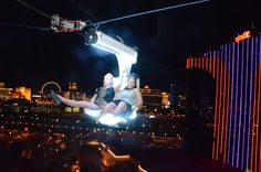 VooDoo ZipLine, a new zip ride between two of Rio's towers, sends a pair of riders soaring 490+ feet over the Strip at 33 mph