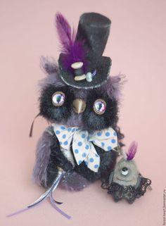 Teddy owl / Мишки Тедди ручной работы. Ярмарка Мастеров - ручная работа. Купить Террант Безумный шляпник  коллекционная авторская игрушка сова миниатю. Handmade.