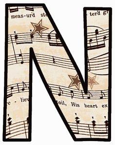 """ArtbyJean - Vintage Sheet Music Alphabet """"N"""""""