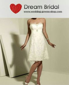 Strapless Empire Waist Pleated Tea Length Satin Ivory Wedding Dresses WD1538 by custom-wedding-dresses.com