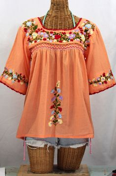 """La Marina"" Embroidered Mexican Peasant Blouse -Orange Cream"