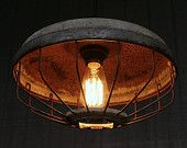 Vintage Industrial Pendant Lighting, Upcycled Chicken Feeder Hanging Light Fixture, Rustic Farmhouse Fixture V-145