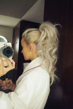 curly pony grey hair