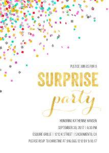 Confetti Surprise Party - party invitation