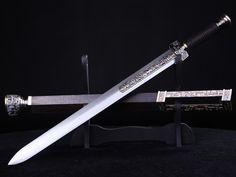 Black Handled Chinese Sword with Matching Scabbard. Swords And Daggers, Knives And Swords, Fantasy Weapons, Fantasy Sword, Cool Swords, Survival, Sword Design, Medieval Weapons, Arm Armor