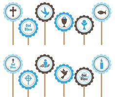 First Holy Communion Baptism-Printable Cupcake Toppers Party Favor Tags, Party Favors, Baptism Cupcakes, Christening Decorations, Custom Birthday Invitations, First Holy Communion, Nautical Party, Cupcake Toppers, Cupcake Picks