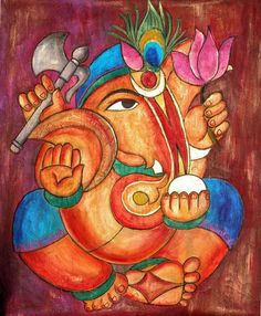 lord ganesha painting,acrylic on canvas