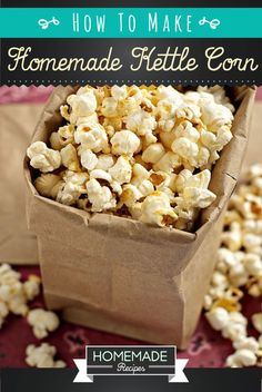 Homemade kettle corn was made popular by traveling county fairs for years! Learn how to make your own homemade kettle corn recipe right in your own kitchen!
