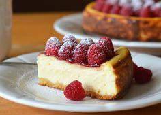 Ricotta Cheesecake with Fresh Raspberries - Once Upon a Chef Made with cream cheese, ricotta cheese and a ground almond crust, the cake is a hybrid between an American-style cheesecake and an Italian-style cheesecake. It's a dream to make: unlike most cheesecakes, you don't have to worry about the top cracking (or fuss with a water bath) because it all gets covered with fruit anyway