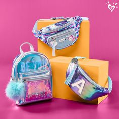 Shimmer for every adventure. Justice Backpacks, Justice Bags, Shop Justice, Justice Girls Clothes, Justice Clothing, Cute Mini Backpacks, Girl Backpacks, Justice Accessories, Girls Accessories