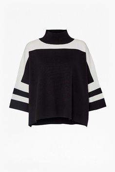 French Connection  Mozart Colour Block Jumper – Black/Summer White