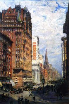 NYC. Fifth Avenue.  // Painting by Colin Campbell Cooper