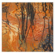 """Catherine Kernan woodcut mono print called """"Meander#2"""""""