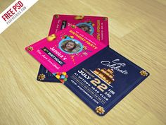 """Download Birthday Invitation Card Template Free PSD. This Birthday Invitation Card Template Free PSD is Great for Birthday Event, Kids Party and any Children Related Events. This Birthday Invitation Card Template Free PSD is Fully Layered PSD file, Fully Customizable and Editable. This Template is  CMYK Colors, 300 DPI High Resolution, 5"""" x 7"""" and Print Ready Format."""