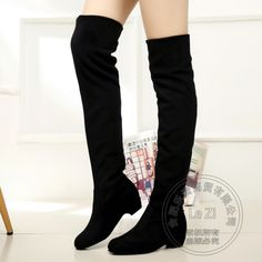 53.45$  Watch here - http://aiqy6.worlditems.win/all/product.php?id=32740217247 - Stretch Fabric Korean Version Wedge Plastic Kitten Heels Nubuck Riding Womens Thigh Over The Knee Boots For Women Stovepipe