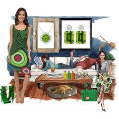 Go Green with Peridot by angarainc on Polyvore featuring Desigual, Essentiel, Molton Brown, OKA, Universal Lighting and Decor and Luigi Bormioli