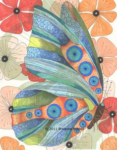 """Whimsical Butterfly Painting Archival Print 8 X 10 """"Giselle"""""""