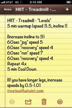 "Treadmill HIIT ""Levels"" (treatswithatwist.com)"