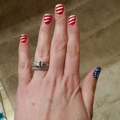 American flag nails.. 4th of July design