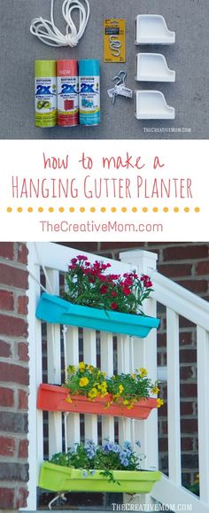 How to make a Hanging Gutter Planter: From thecreativemom.com