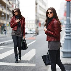 Casual look wearing a dark red leather jacket today on my blog: http://themysteriousgirl.ro/2014/12/casual-with-a-leather-jacket/