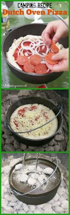 Camping Recipe - Dutch Oven Pizza  | whatscookingamerica.net  | #dutch #oven #pizza #camping