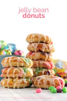 Finally! A way to use up all those jelly beans! The most useful of all leftover Easter candy recipes: Jelly Bean Donuts. Like funfetti donuts, but better. | Melanie Makes