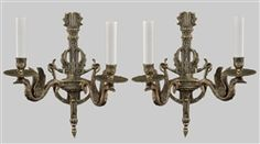 Figural Swan Bronze Pair of Wall Sconces c1930