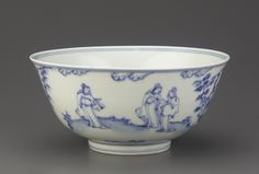 'Three Friends of Winter' bowl with scholars in landscape, 1450-1500, Ming dynasty (1368 – 1644)