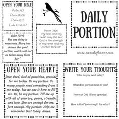 daily portion printable and tuesday talk