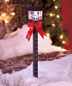 Solar Snow Gauge, Seasonal Décor, Christmas & Winter ,Yard Décor, Snow Man
