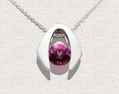Argentium silver and rhodolite garnet pendant designed by David Worcester for VerbenaPlaceJewelry.Etsy.com